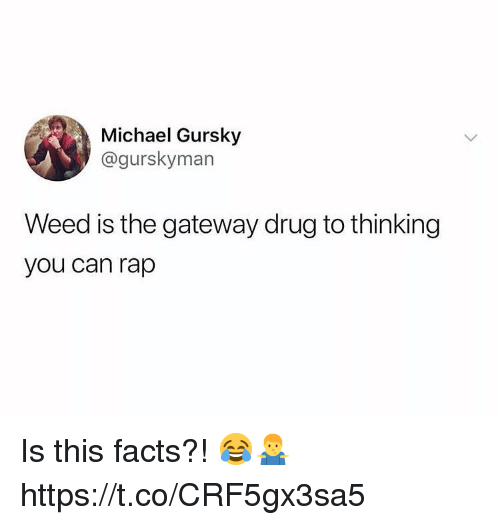 Facts, Rap, and Weed: Michael Gursky  @gurskyman  Weed is the gateway drug to thinking  you can rap Is this facts?! 😂🤷‍♂️ https://t.co/CRF5gx3sa5