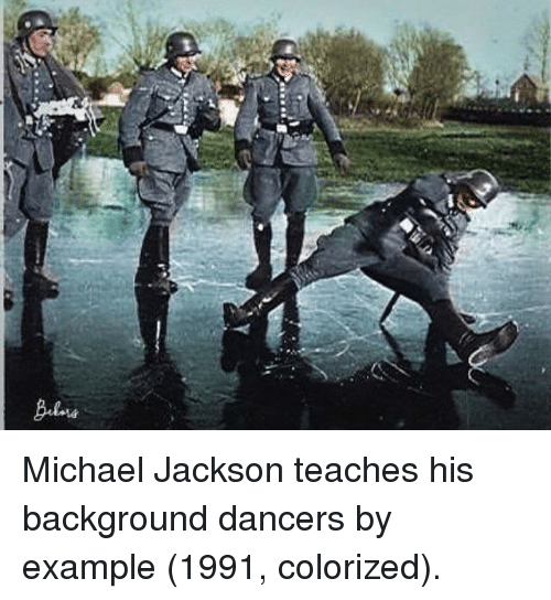 Michael Jackson, Michael, and Jackson: Michael Jackson teaches his background dancers by example (1991, colorized).