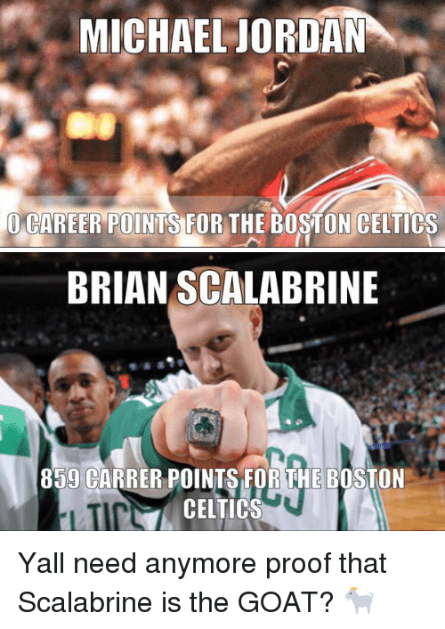 MICHAEL JORDAN CAREER POINTS FOR THE BOSTON CELTICS BRIAN SCALABRINE 859  CARRER POINTS FOR THE BOSTON CELTICS Yall Need Anymore Proof That Scalabrine  Is the ... 43b981839