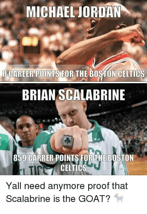 Boston Celtics, Michael Jordan, and Goat: MICHAEL JORDAN  CAREER POINTSTUR THE BOSTON CELTICS  BRIAN SCALABRINE  859 CARRER POINTS FOR THE BOSTON  N CELTICS  Yall need anymore proof that  Scalabrine is the GOAT?