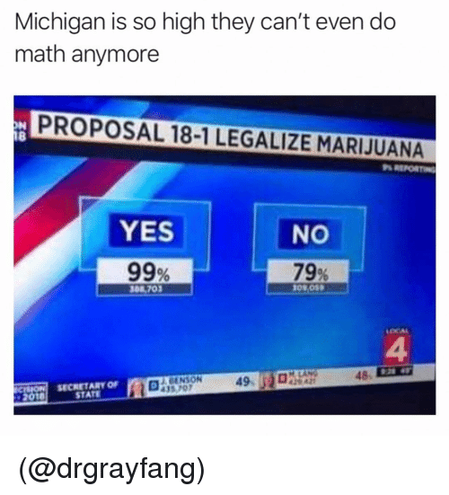 Marijuana, Math, and Michigan: Michigan is so high they can't even do  math anymore  PROPOSAL 18-1 LEGALIZE MARIJUANA  18  YES  99%  NO  79%  308 ,702  LOCAL  4  48-  SECRETARY OF  STATE  ENSON  435 707  49 (@drgrayfang)