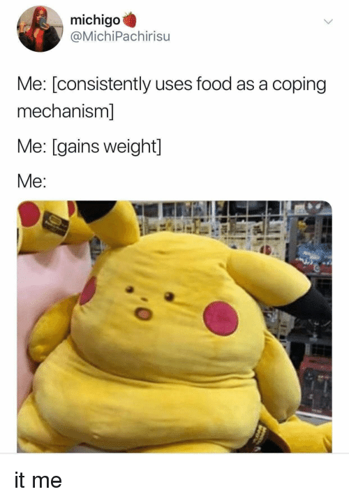 Food, Gains, and It-Me: michigo  @MichiPachirisu  Me: [consistently uses food as a coping  mechanism]  Me: [gains weight]  Me