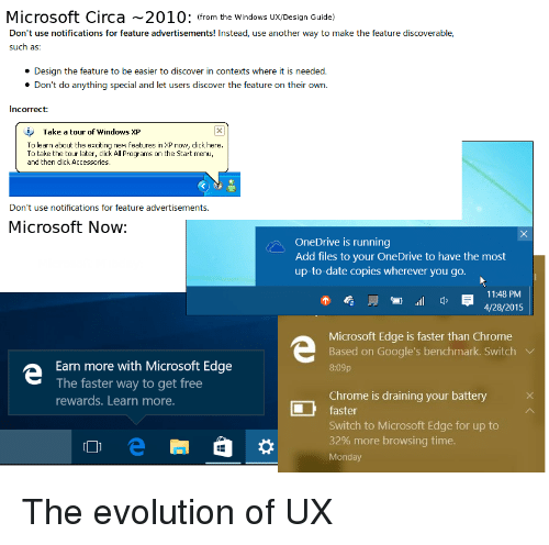 Chrome, Click, and Microsoft: Microsoft Circa 2010: (from the Windows Ux/Design Guide)  Don't use notifications for feature advertisements! Instead, use another way to make the feature discoverable,  such as:  Design the feature to be easier to discover in contexts where it is needed.  Don't do anything special and let users discover the feature on their own.  Incorrect:  Take a tour of windows XP  To learn about the exciting new features in XP now, click here.  To take the tour later, click All Programs on the Start menu,  and then click Accessories  Don't use notifications for feature advertisements.  Microsoft Now  OneDrive is running  Add files to your OneDrive to have the most  up-to-date copies wherever you go.  11:48 PM  4/28/2015  管.ill q,  Microsoft Edge is faster than Chrome  Based on Google's benchmark. Switch V  8:09p  Earn more with Microsoft Edge  The faster way to get free  rewards. Learn more.  Chrome is draining your battery X  faster  Switch to Microsoft Edge for up to  32% more browsing time.  Monday The evolution of UX
