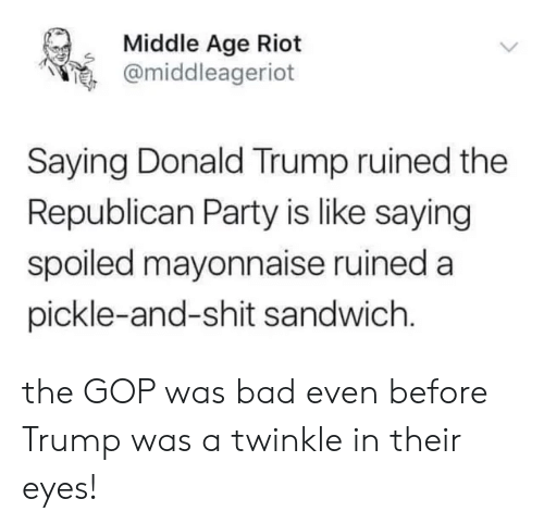 Bad, Donald Trump, and Memes: Middle Age Riot  @middleager.ot  s  .  Saying Donald Trump ruined the  Republican Party is like saying  spoiled mayonnaise ruined a  pickle-and-shit sandwich the GOP was bad even before Trump was a twinkle in their eyes!