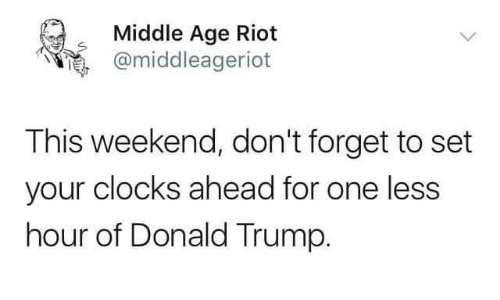 Donald Trump, Memes, and Riot: Middle Age Riot  @middleagerioft  This weekend, don't forget to set  your clocks ahead for one less  hour of Donald Trump.