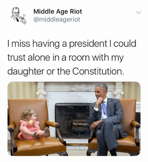 Being Alone, Memes, and Riot: Middle Age Riot  @middleageriot  I miss having a president I could  trust alone in a room with my  daughter or the Constitution