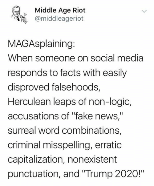 """Facts, Fake, and Logic: Middle Age Riot  @middleageriot  MAGAsplaining:  When someone on social media  responds to facts with easily  disproved falsehoods,  Herculean leaps of non-logic,  accusations of """"fake news,""""  surreal word combinations,  criminal misspelling, erratic  capitalization, nonexistent  punctuation, and """"Trump 2020!"""""""