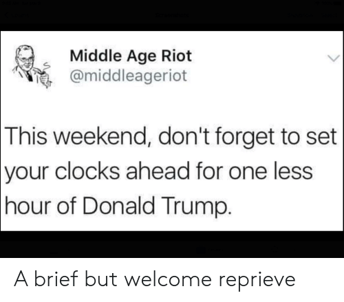 Donald Trump, Politics, and Riot: Middle Age Riot  @middleageriot  This  weekend, don't forget to set  clocks ahead for one less  of Donald Trump.  your  hour A brief but welcome reprieve