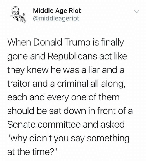 "Donald Trump, Memes, and Riot: Middle Age Riot  @middleageriot  When Donald Trump is finally  gone and Republicans act like  they knew he was a liar and a  traitor and a criminal all along,  each and every one of them  should be sat down in front of a  Senate committee and asked  ""why didn't you say something  at the time?"""