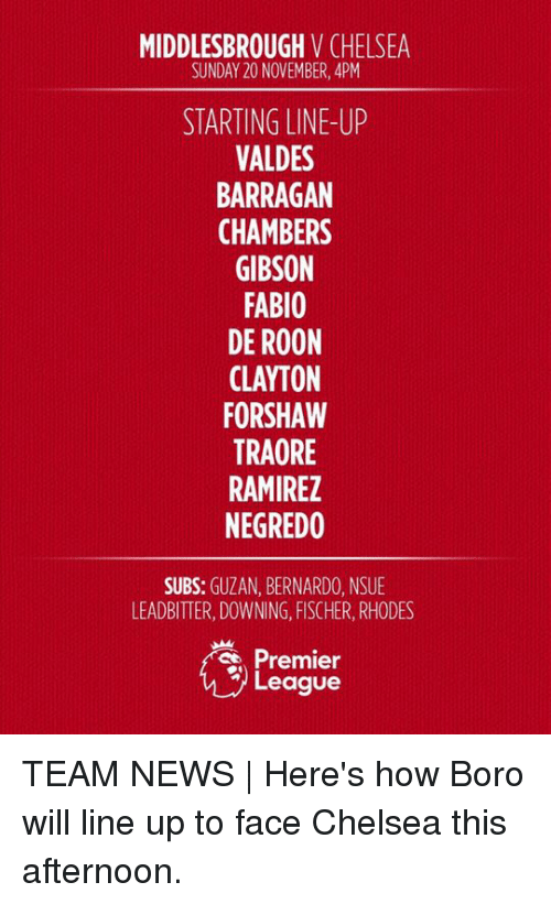 Chelsea, Memes, and Premier League: MIDDLESBROUGH  V CHELSEA  SUNDAY 20 NOVEMBER, 4PM  STARTING LINE-UP  VALDES  BARRAGAN  CHAMBERS  GIBSON  FABIO  DE ROON  FORSHAW  TRAORE  RAMIREZ  NEGREDO  SUBS  GUZAN, BERNARDO, NSUE  LEADBITTER, DOWNING, FISCHER, RHODES  Premier  League TEAM NEWS | Here's how Boro will line up to face Chelsea this afternoon.