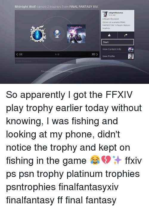 Midnight Wolf Earned 2 Trophies From FINAL FANTASY XIV 12