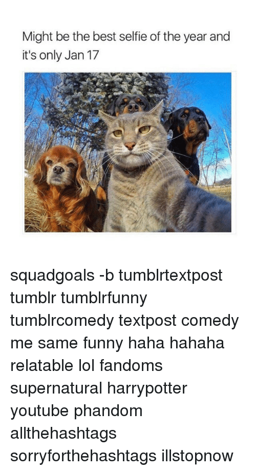 Memes, Selfie, and Supernatural: Might be the best selfie of the year and  it's only Jan 17 squadgoals -b tumblrtextpost tumblr tumblrfunny tumblrcomedy textpost comedy me same funny haha hahaha relatable lol fandoms supernatural harrypotter youtube phandom allthehashtags sorryforthehashtags illstopnow