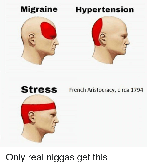 Memes, Migraine, and French: Migraine Hypertension  StresS  French Aristocracy, circa 1794 Only real niggas get this