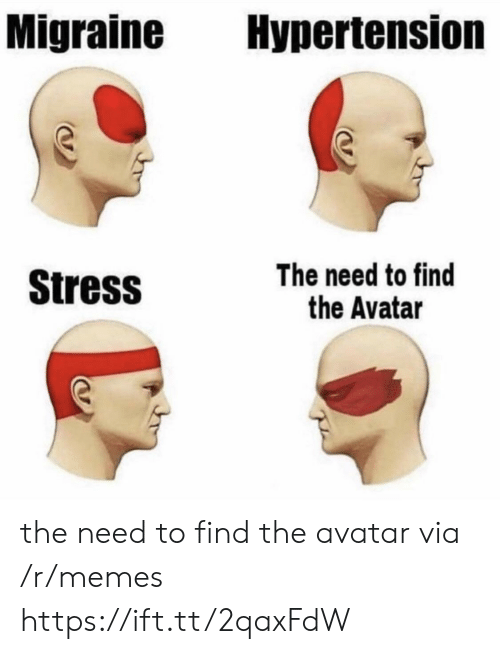 Memes, Avatar, and Migraine: Migraine Hypertension  Stress  The need to find  the Avatar the need to find the avatar via /r/memes https://ift.tt/2qaxFdW