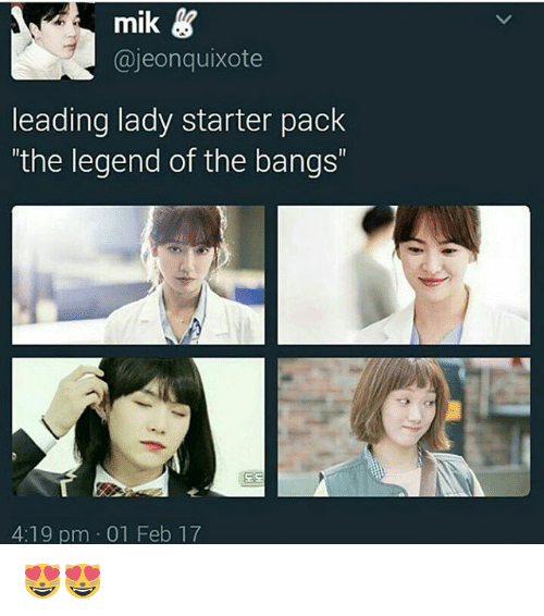 """Bts, Legend, and Legends: mik  Gajeonquixote  leading lady starter pack  """"the legend of the bangs""""  4:19 pm 01 Feb 17 😻😻"""