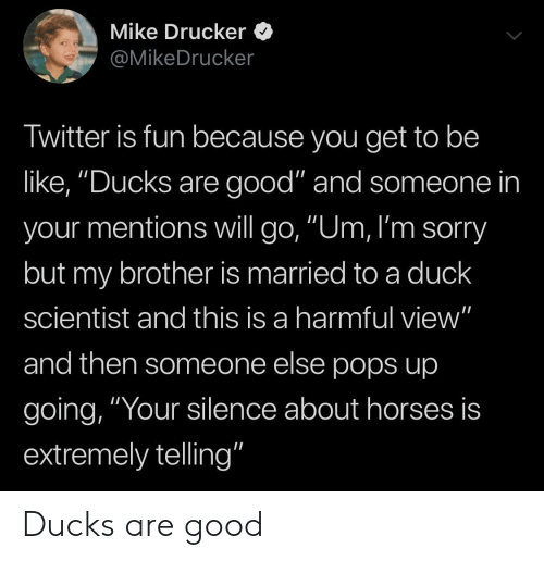 """Be Like, Horses, and Sorry: Mike Drucker  @MikeDrucker  Twitter is fun because you get to be  like, """"Ducks are good"""" and someone in  your mentions will go, """"Um, I'm sorry  but my brother is married to a duck  scientist and this is a harmful view""""  and then someone else pops up  going, """"Your silence about horses is  extremely telling"""" Ducks are good"""