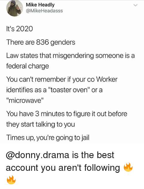 """Funny, Jail, and Best: Mike Headly  @MikeHeadasss  It's 2020  There are 836 genders  Law states that misgendering someone is a  federal charge  You can't remember if your co Worker  identifies as a """"toaster oven"""" or a  """"microwave""""  You have 3 minutes to figure it out before  they start talking to you  Times up, you're going to jail @donny.drama is the best account you aren't following 🔥🔥"""