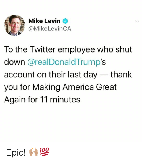 America, Memes, and Twitter: Mike Levin  @MikeLevinCA  To the Twitter employee who shut  down @realDonaldTrump's  account on their last day - thank  you for Making America Great  Again for 11 minutes Epic! 🙌🏽💯