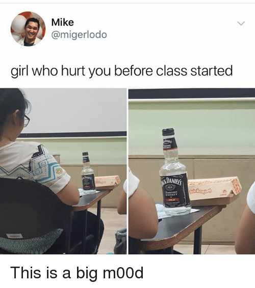 Memes, Girl, and 🤖: Mike  @migerlodo  girl who hurt you before class started  DANIES This is a big m00d