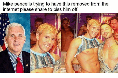 Memes, 🤖, and Mike Pence: Mike pence is trying to have this removed from the  internet please share to piss him off