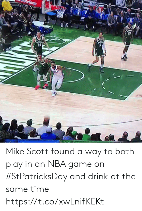 Nba, Sports, and Game: Mike Scott found a way to both play in an NBA game on #StPatricksDay and drink at the same time https://t.co/xwLnifKEKt