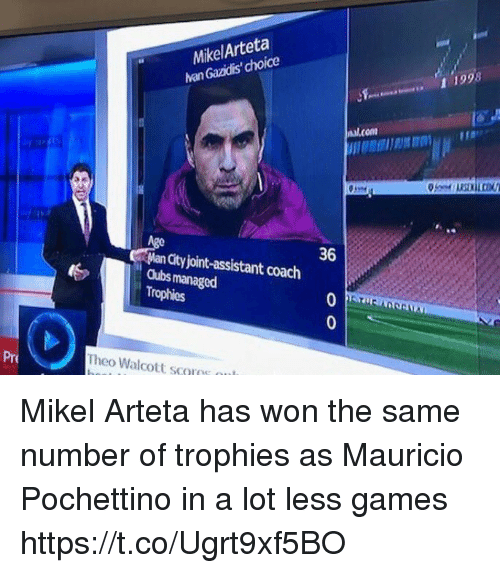 Soccer, Cubs, and Games: MikelArteta  han Gazidis' choice  et  1 1998  nal.com  36  Man City joint-assistant coach  Cubs managed  Trophies  Pre  Theo Walcott scovos ou Mikel Arteta has won the same number of trophies as Mauricio Pochettino in a lot less games https://t.co/Ugrt9xf5BO