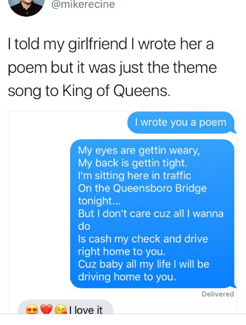 Told My Girlfriend I Wrote Her a Poem but It Was Just the Theme Song