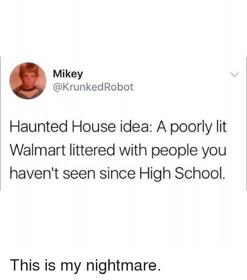 Lit, Memes, and School: Mikey  @KrunkedRobot  Haunted House idea: A poorly lit  Walmart littered with people you  haven't seen since High School. This is my nightmare.