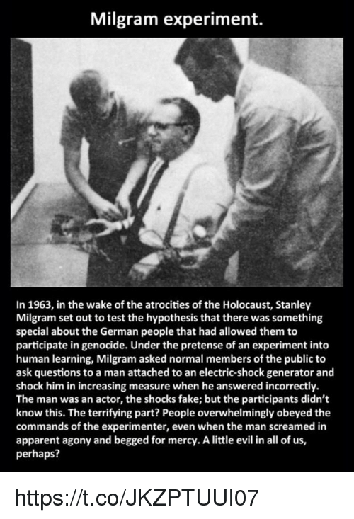 milgram experiment and lessons learned Milgram's progress milgram recruited a diverse group of psychologically normal adult men to participate in a laboratory experiment supposedly designed to.