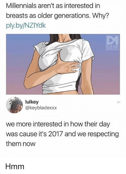 Dank, Memes, and Millennials: Millennials aren't as interested in  breasts as older generations. Why?  ply.by/NZIYdk  DANK  MEA  lulkey  @keybladexxx  we more interested in how their day  was cause it's 2017 and we respecting  them novw Hmm