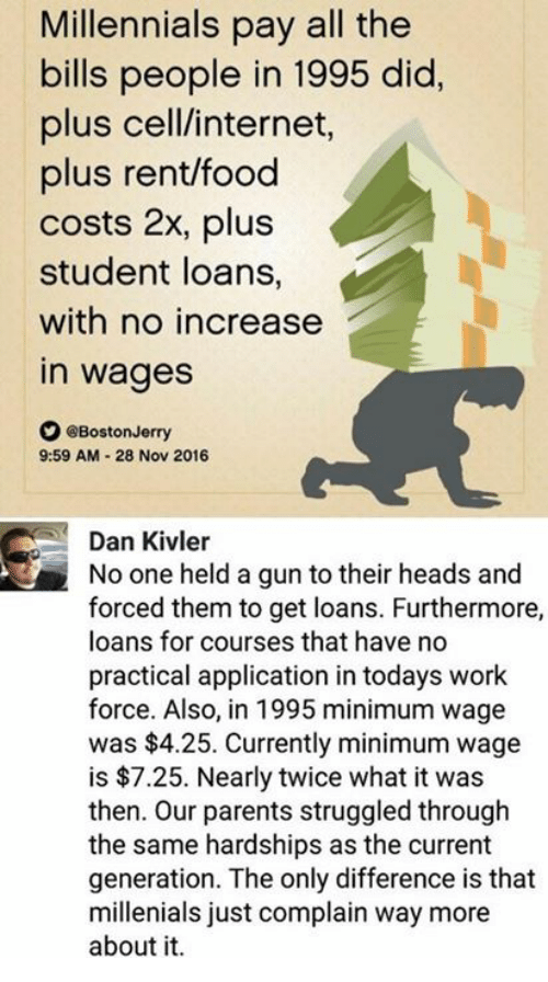 Food, Internet, and Memes: Millennials pay all the  bills people in 1995 did,  plus cell/internet,  plus rent/food  costs 2x, plus  student loans,  with no increase  in wages  O eBoston Jerry  9:59 AM 28 Nov 2016  Dan Kivler  No one held a gun to their heads and  forced them to get loans. Furthermore,  loans for courses that have no  practical application in todays work  force. Also, in 1995 minimum wage  was $4.25. Currently minimum wage  is $7.25. Nearly twice what it was  then. Our parents struggled through  the same hardships as the current  generation. The only difference is that  millenials just complain way more  about it.