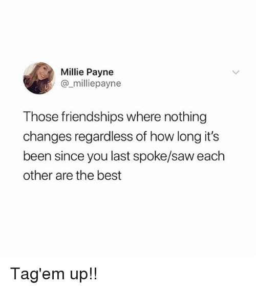 Memes, Saw, and Best: Millie Payne  @_milliepayne  Those friendships where nothing  changes regardless of how long it's  been since you last spoke/saw each  other are the best Tag'em up!!
