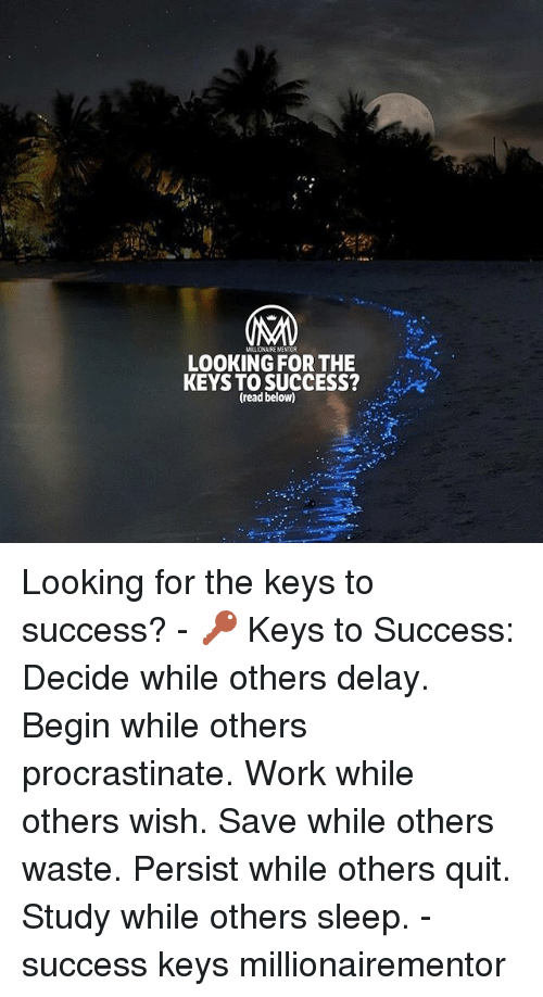 Memes, Work, and Sleep: MILLIONAIRE MENTOR  LOOKING FOR THE  KEYS TO SUCCESS?  (read below) Looking for the keys to success? - 🔑 Keys to Success: Decide while others delay. Begin while others procrastinate. Work while others wish. Save while others waste. Persist while others quit. Study while others sleep. - success keys millionairementor