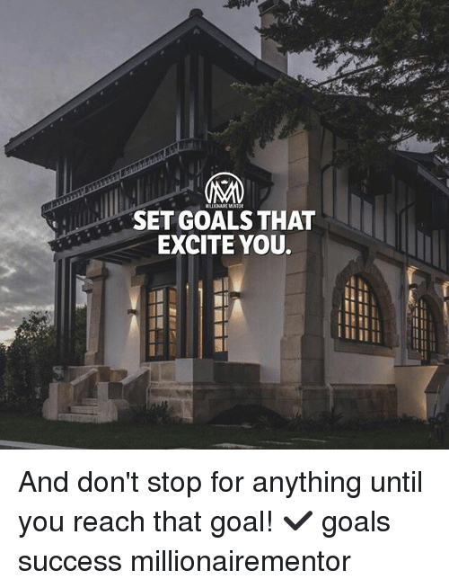 Goals, Memes, and Excite: MILLIONAIRE MENTOR  SET GOALS THAT  EXCITE YOU. And don't stop for anything until you reach that goal! ✔️ goals success millionairementor