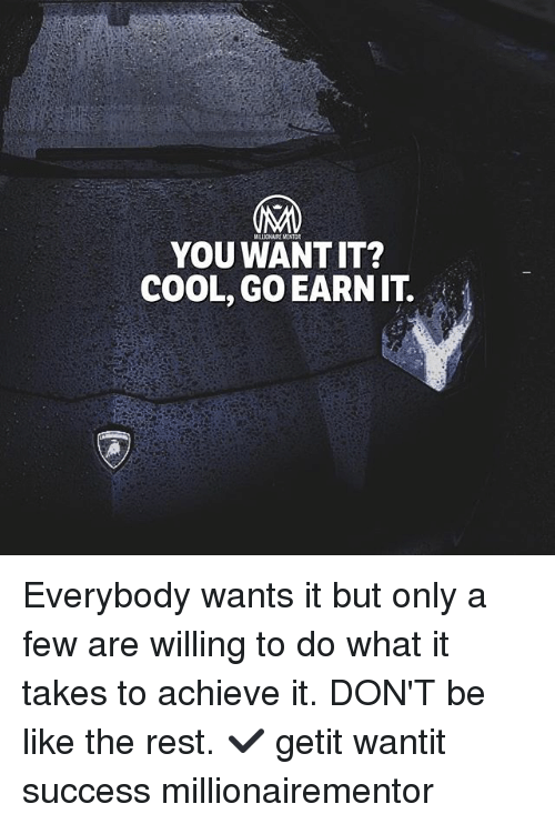 Be Like, Memes, and Cool: MILLIONAIRE MENTOR  YOU WANT IT?  COOL, GO EARNIT. Everybody wants it but only a few are willing to do what it takes to achieve it. DON'T be like the rest. ✔️ getit wantit success millionairementor