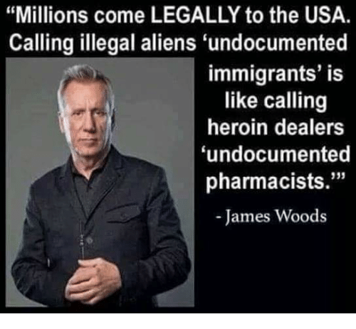 "Heroin, Memes, and Aliens: ""Millions come LEGALLY to the USA.  Calling illegal aliens undocumented  immigrants' is  like calling  heroin dealers  undocumented  pharmacists.""  James Woods"