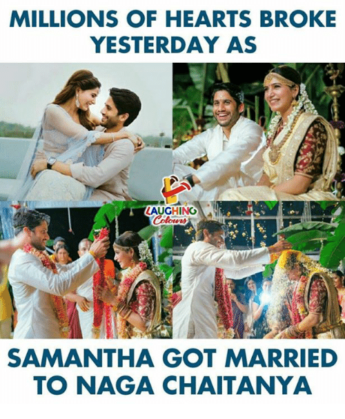 Hearts, Indianpeoplefacebook, and Got: MILLIONS OF HEARTS BROKE  YESTERDAY AS  SAMANTHA GOT MARRIED  TO NAGA CHAITANYA