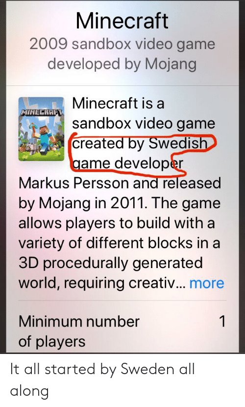 Minecraft, The Game, and Game: Minecraft  2009 sandbox video game  developed by Mojang  Minecraft is a  MINECRAFT  sandbox video game  created by Swedish  game developer  Markus Persson and released  by Mojang in 2011. The game  allows players to build with a  variety of different blocks in a  3D procedurally generated  world, requiring creativ... more  Minimum number  1  of players It all started by Sweden all along