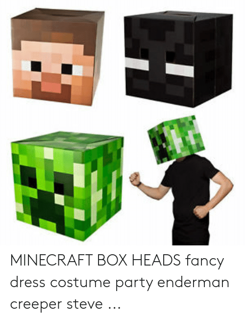 Minecraft Box Heads Fancy Dress Costume Party Enderman