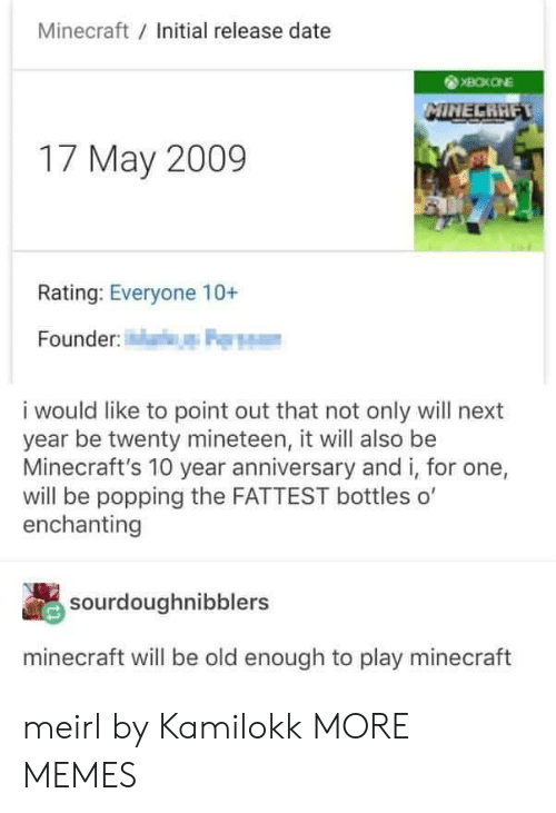 Dank, Memes, and Minecraft: Minecraft Initial release date  17 May 2009  Rating: Everyone 10+  Founder  i would like to point out that not only will next  year be twenty mineteen, it will also be  Minecraft's 10 year anniversary and i, for one,  will be popping the FATTEST bottles o'  enchanting  sourdoughnibblers  minecraft will be old enough to play minecraft meirl by Kamilokk MORE MEMES