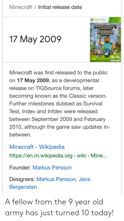 Minecraft Initial Release Date MINEERHIF 17 May 2009