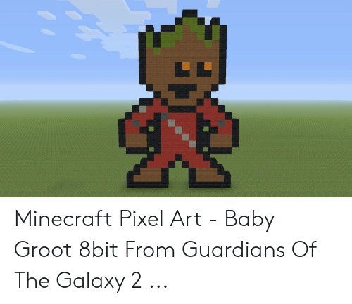 Minecraft Pixel Art Baby Groot 8bit From Guardians Of The