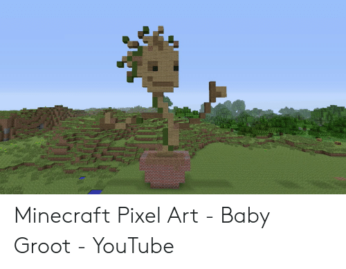 Minecraft Pixel Art Baby Groot Youtube Minecraft Meme