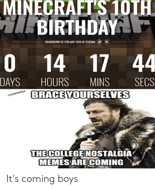 Minecrafts 10th Birthday Countdown To 17th May 2019 At 1200am 0 14