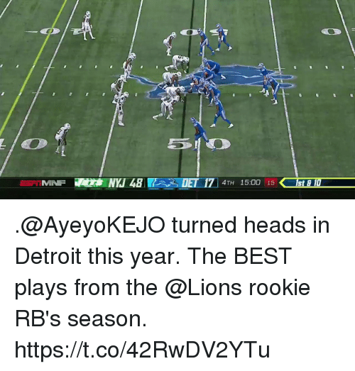 Detroit, Memes, and Best: MINFNYJ48  DET 171 4TH 15:00 15  E 17 4TH 15:00 15st  ISt E D .@AyeyoKEJO turned heads in Detroit this year.  The BEST plays from the @Lions rookie RB's season. https://t.co/42RwDV2YTu