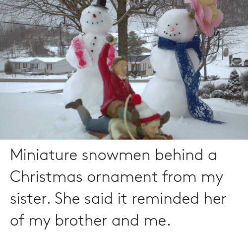 Christmas, Her, and Brother: Miniature snowmen behind a Christmas ornament from my sister. She said it reminded her of my brother and me.