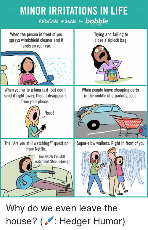 MINOR IRRITATIONS IN LIFE HEDGER HUMOR for Babble When the Person in
