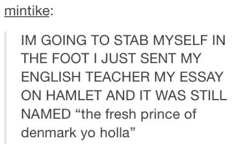 Essay On Myself In English  Vifoangeip Fresh Hamlet And Prince Mintike Im Going To Stab Myselfin The Foot I