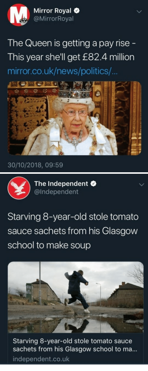 News, Politics, and School: Mirror Royal  @MirrorRoyal  The Queen is getting a pay rise  This year she'll get £82.4 million  mirror.co.uk/news/politics/  30/10/2018, 09:59   The Independent  @lndependent  Starving 8-year-old stole tomato  sauce sachets from his Glasgow  school to make soup  Starving 8-year-old stole tomato sauce  sachets from his Glasgow school to ma...  independent.co.uk