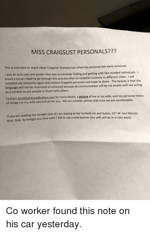 MISS CRAIGSLIST PERSONALS??? This Is Intended to Reach Other